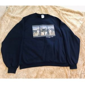 Oversized Vintage Graphic Wolf Crewneck Sweatshirt